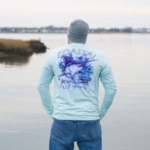 Coastal Green Men's Long Sleeve QuickDry Fishing Shirt - Marlin Design - Coastal Fishing