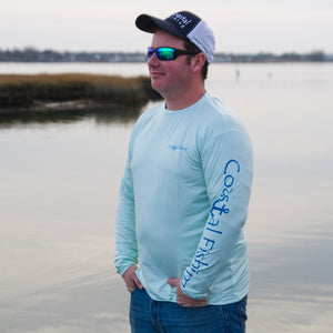 Coastal Green Men's Long Sleeve QuickDry Fishing Shirt - Tuna Design - Coastal Fishing