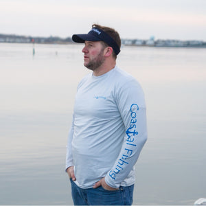 Coastal Gray Men's Long Sleeve QuickDry Fishing Shirt - Marlin Design - Coastal Fishing