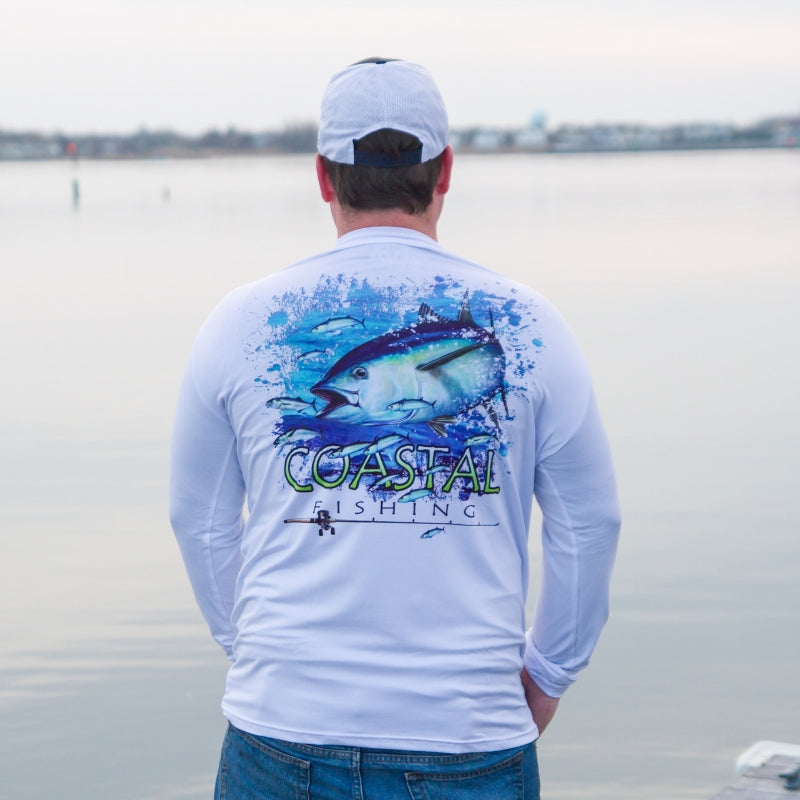 Coastal White Men's Long Sleeve QuickDry Fishing Shirt - Tuna Design - Coastal Fishing