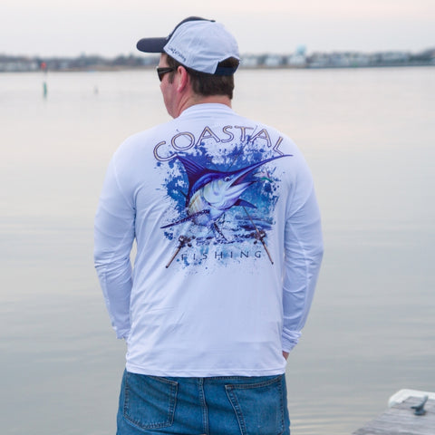 Coastal White Men's Long Sleeve QuickDry Fishing Shirt - Marlin Design