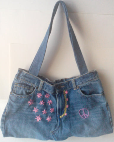 recycled blue jean bags