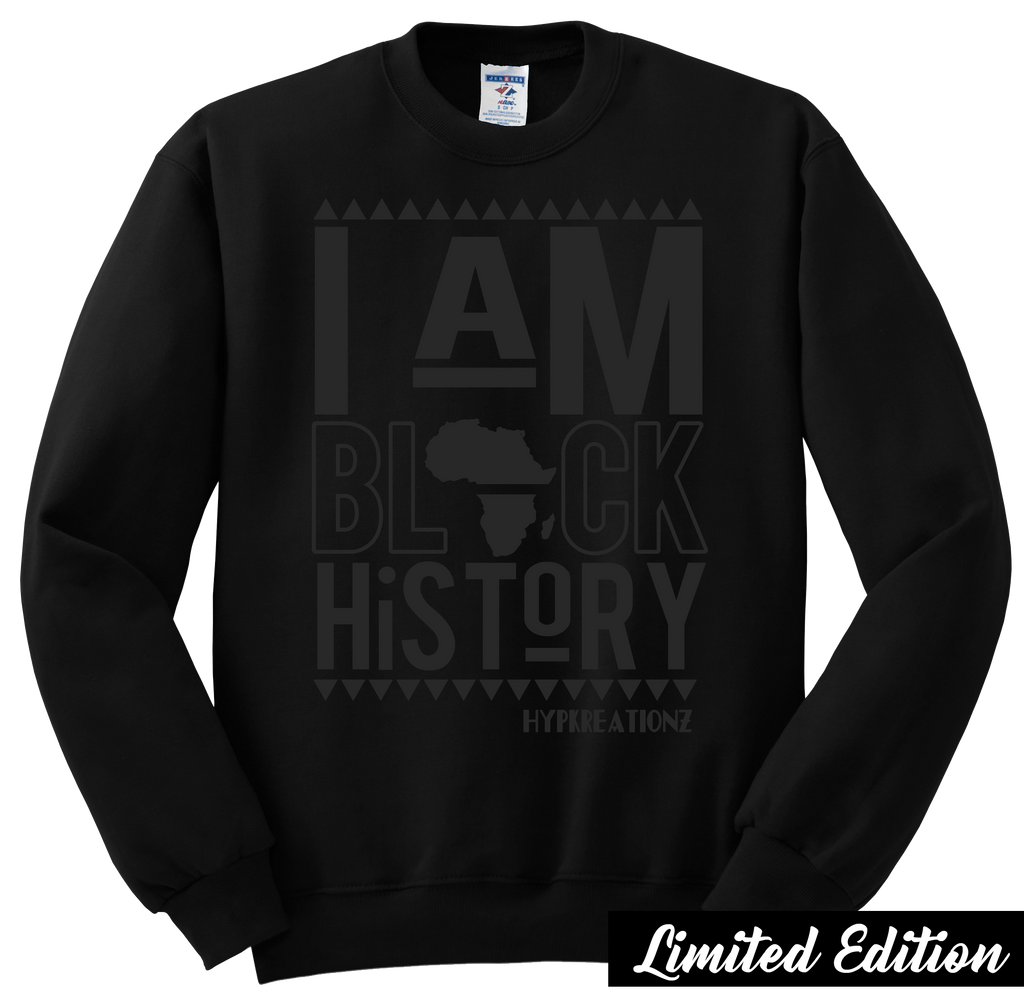 Limited Edition**  Black on Black I Am Black History Crewneck Sweatshirt