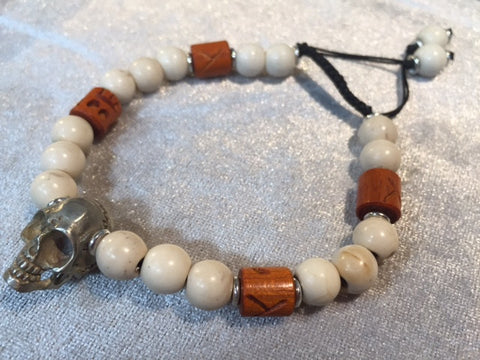 BRACELET SKULL WHITE BRASS WITH WHITE BEAD AND TIBETAN CHANG WOOD