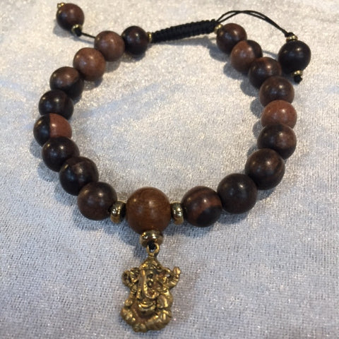 BRACELET GANESHA YELLOW BRASS WITH BROWN WOOD BEADS