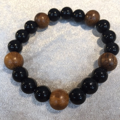 BRACELET ONYX BEADS AND BROWN WOOD BEADS