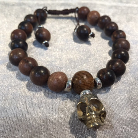 Bracelets skull white brass with brown beads