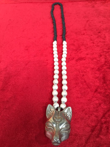 # Necklaces Kitsune white brass pendant with lava stone and white howlite