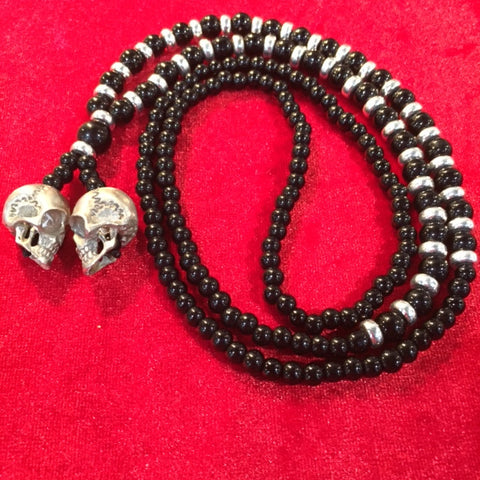 # Necklaces double skull white brass pendant with onyx beads 1/1