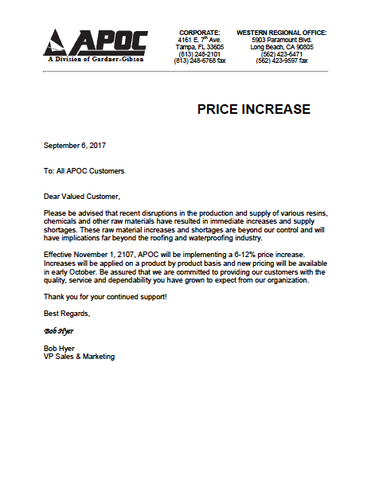 Price Increase Apoc