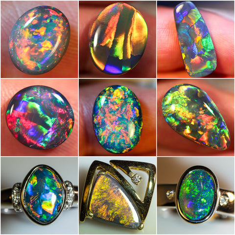 Different black opals from Lightning Ridge, Australia. Also showing some opal rings.