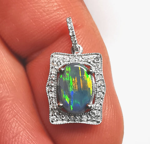 Black Opal 14k solid White Gold Pendant with diamonds BP0A281119