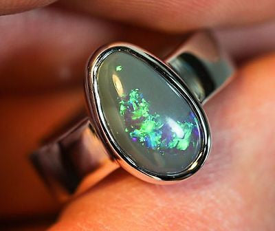 Solid Lightning Ridge Black Opal Sterling Silver Ring Size 7.5 BOPR001 - Black Opal Shop