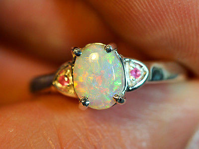 Solid Lightning Ridge Crystal Opal Sterling Silver Ring Size 6.5 COPR0001 - Black Opal Shop