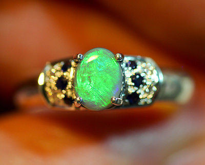 Beautiful Solid Natural Black Opal Sterling Silver Ring Size 6 BOPR002 - Black Opal Shop