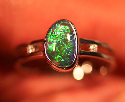 Lightning Ridge Solid Black Fire Opal 18k White Solid Gold Ring size 7.5 BOPR004 - Black Opal Shop