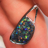 Black Opal 18k solid White Gold Pendant BOPU189281119 - Black Opal Shop
