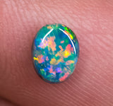 Black Opal Ring Stone Lightning Ridge natural solid 0.65ct Australian gem BOPA140818 - Black Opal Shop