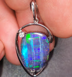 Large Boulder Opal 18k White Gold Pendant BOPML104291119 - Black Opal Shop