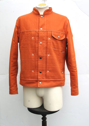 Cheng Made in USA Classic Denim Jacket in heavyweight Orange Slub Fabric