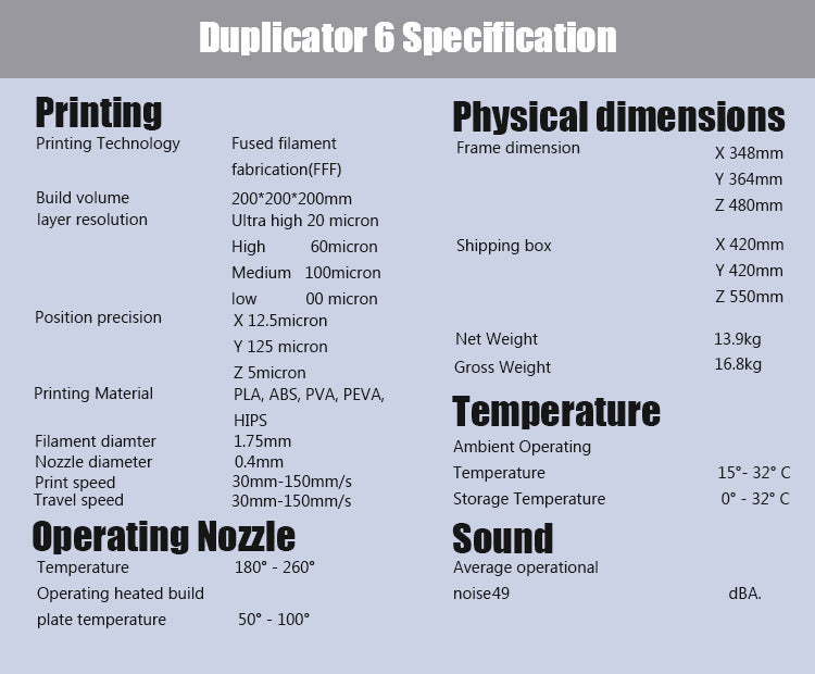 wanhao duplicator 6 specification