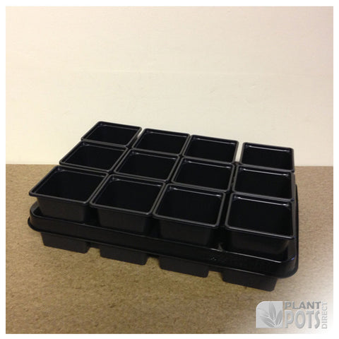 9cm Square plant pot set - 12 pots