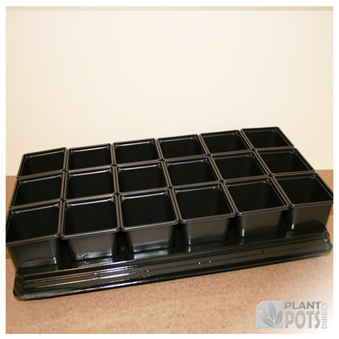 9cm Square plant pot set - 18 pots