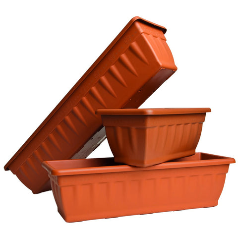 CASSIOPEA - 50cm Plastic Trough / Planter - Terracotta By Pasquini & Bini