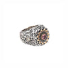 Tourmaline & Diamond Flower Silver & Gold Ring