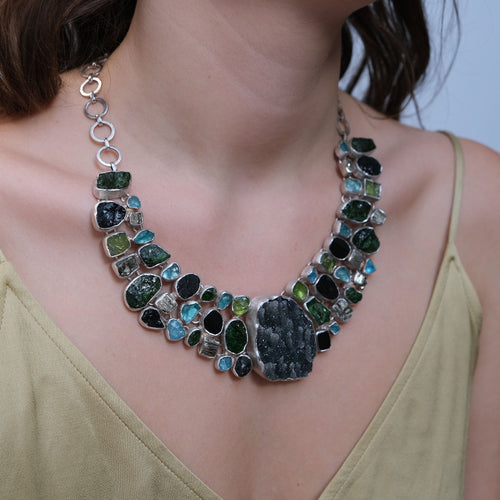 Peridot Pyrite Black Tourmaline & Apatite Silver Necklace
