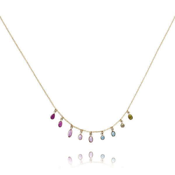 Tourmaline Briolette Drop 18kt Gold Necklace