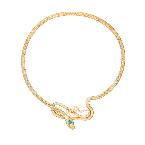 Turquoise Gold Plated Silver Snake Necklace