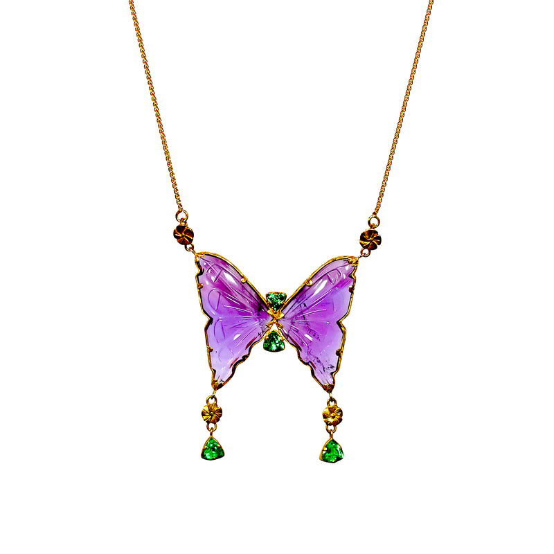 Amethyst & Tsavorite Butterfly Necklace