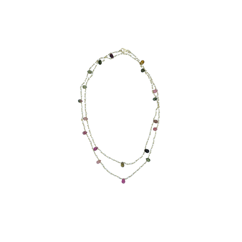 Pearl & Tourmaline Silver Gold Plated Necklace