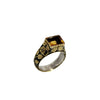 Citrine Diamond Silver &  Gold Ring