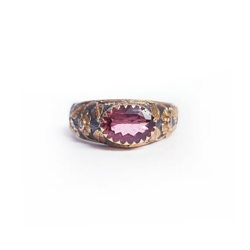 Tourmaline Diamond Silver & Gold Ring