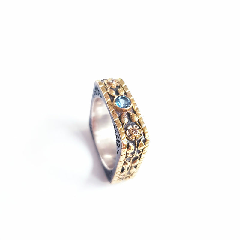 Aquamarine & Diamond Silver & Gold Square Ring