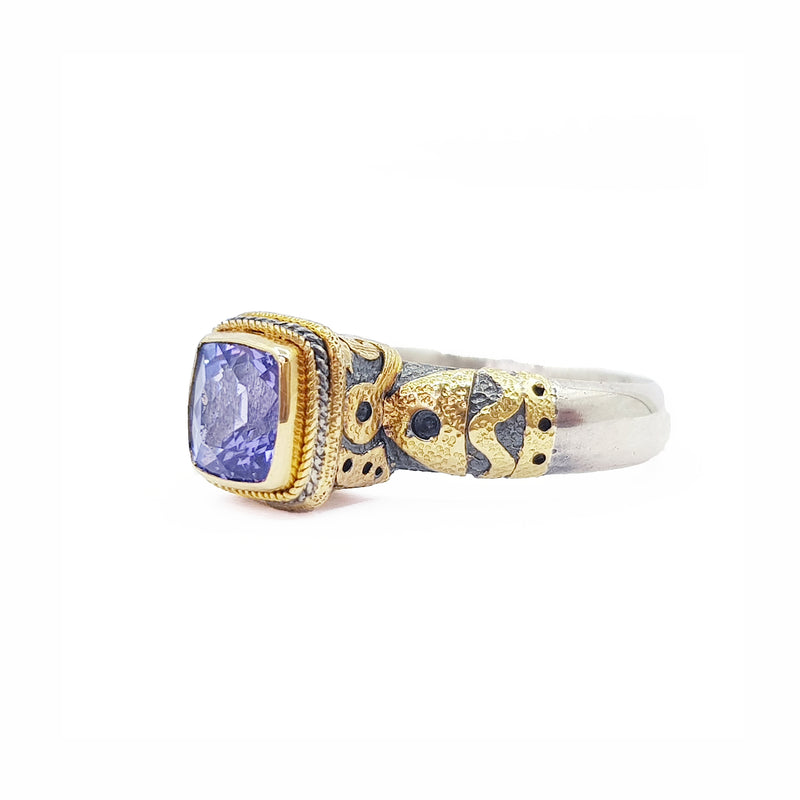 Tanzanite Silver & Gold Ring