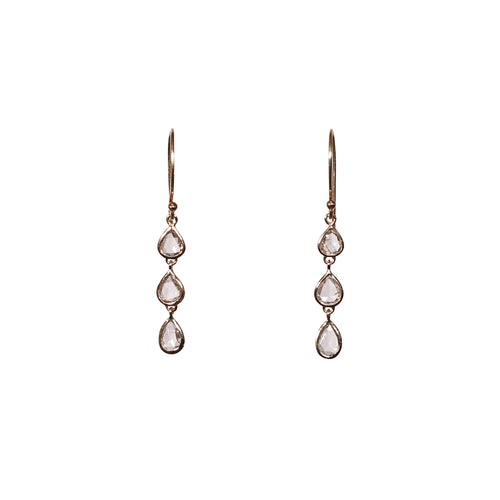 Diamond  Rose Cut  Gold Earrings