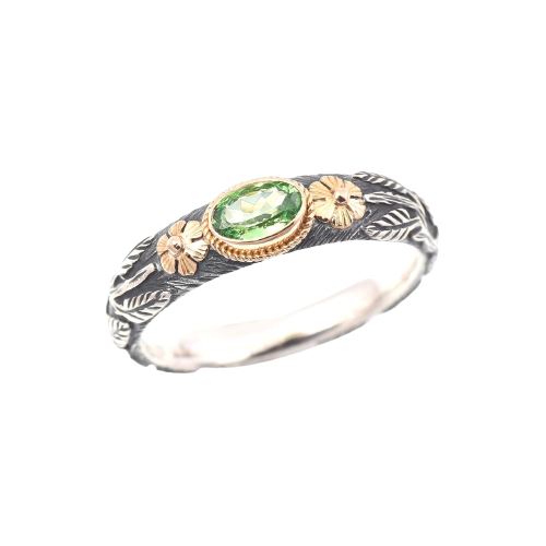 Tsavorite Silver & Gold Ring