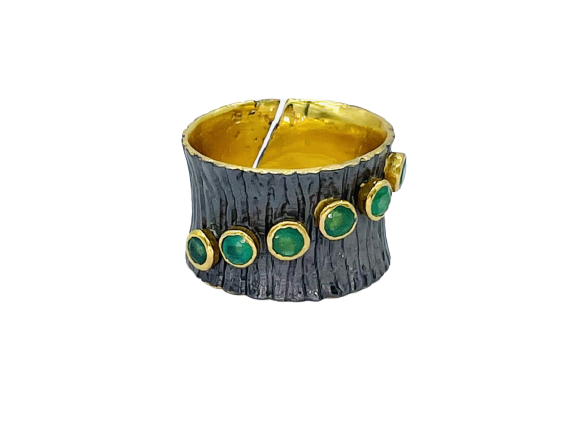 Emerald Oxidize Gold Plated Silver Ring