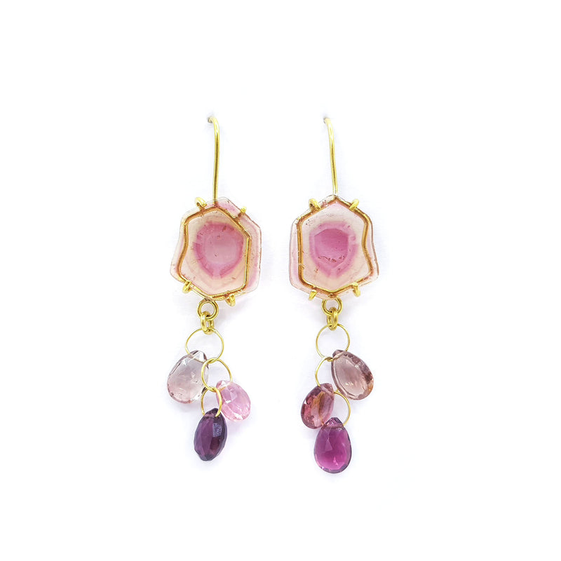 Watermelon Tourmaline & Tourmaline Earrings