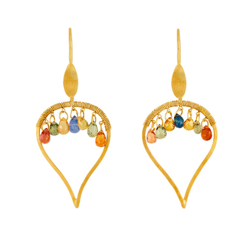 Sapphire 18kt gold Chandelier Earrings