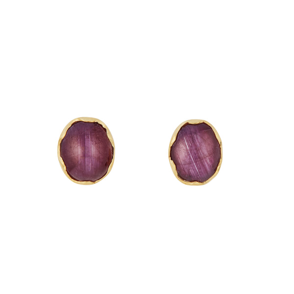 Star Ruby & 18kt Yellow Gold Earrings