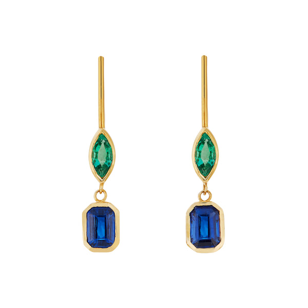 Kyanite 1.35ct & Emerald 0.45ct 18kt Gold Earring