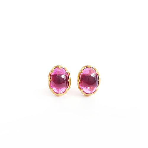 Rubellite Gold Stud Earrings