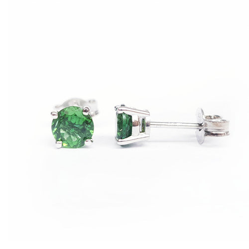 Tsavorite White Gold Stud Earrings