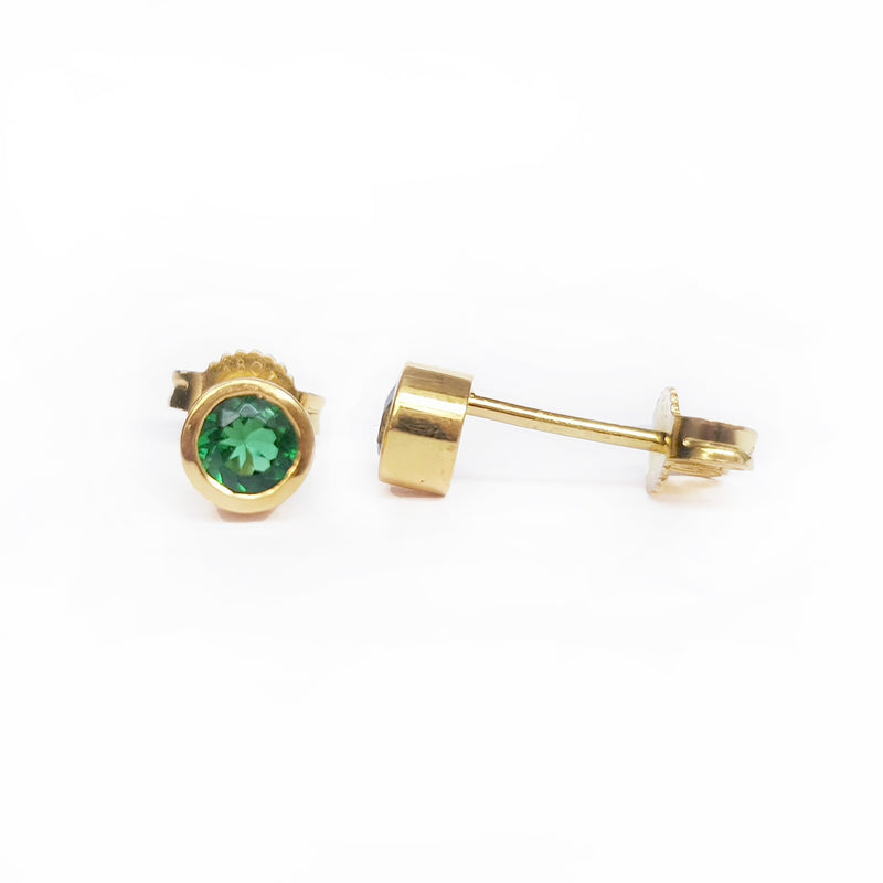 Tsavorite Gold Stud Earrings