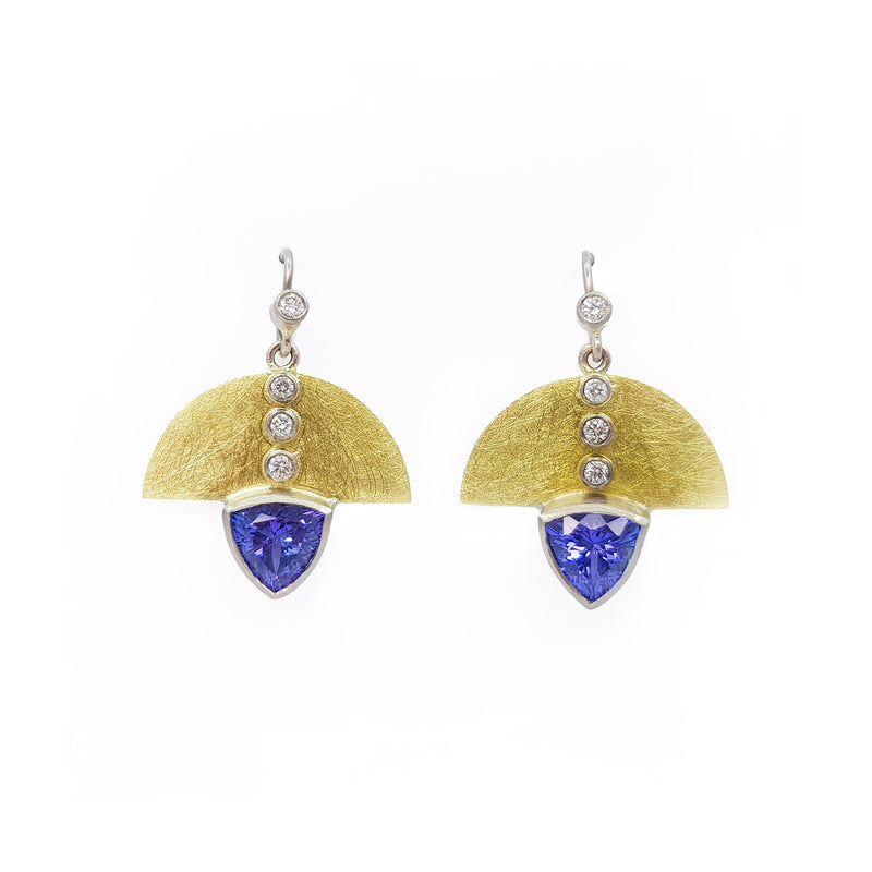 Tanzanite & Diamond Yellow & White Gold Earrings