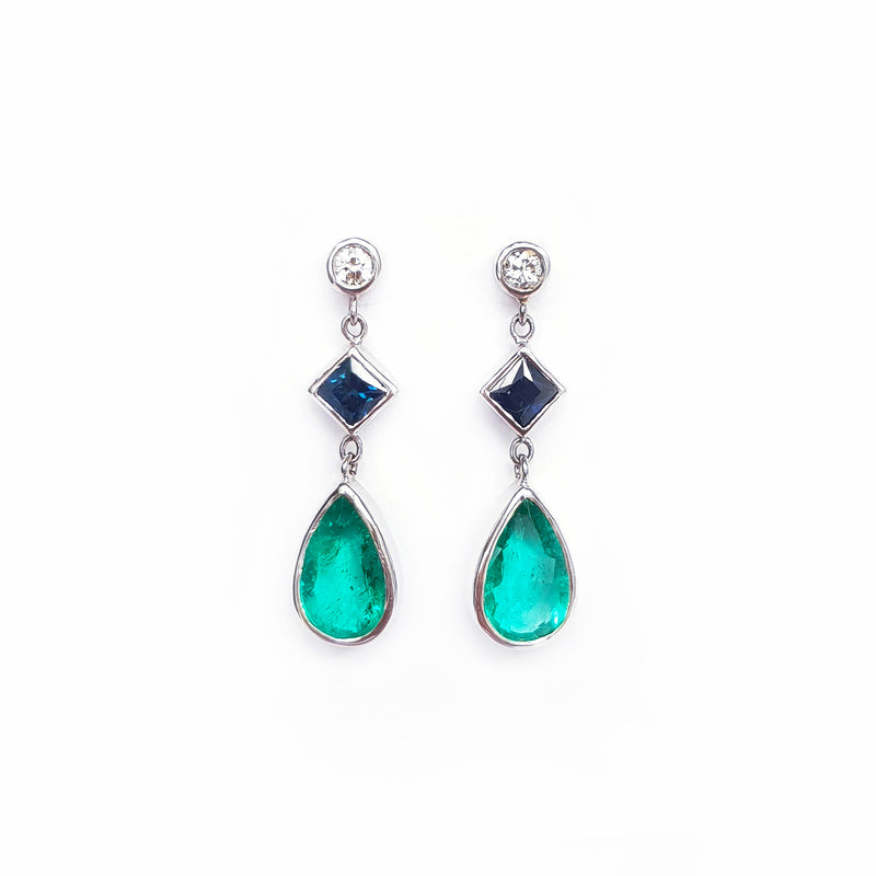 Sapphire, Emerald & Diamond Earrings